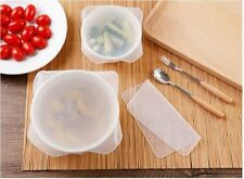 Set of 4 Reusable Clear Silicone Food Fresh Keeping Wrap Seal Film Cover