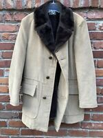 VTG 70s Sears The Mens Store Brown Corduroy Sherpa Lined Heavy Coat Jacket 42 R