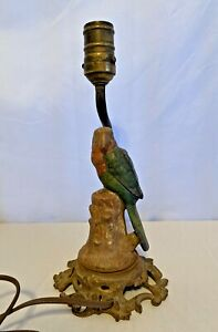 Antique Cast Iron PARROT Stump Decorative Art Lamp unique old bird light Working