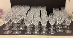 Lg Lot WATERFORD Crystal Stemware KILDARE 24 Claret 20 Hocks 4 Sparkling 4 Water