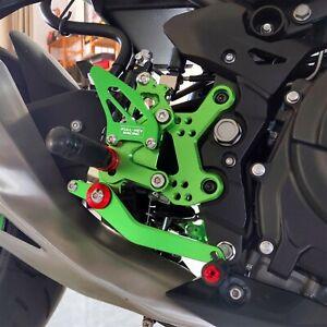 Adjustable Rearset Rear Sets Foot Pegs For Kawasaki NINJA 400 2018-19-2020 green