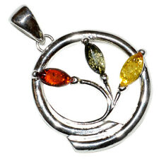 4.2g Authentic Baltic Amber 925 Sterling Silver Pendant Jewelry A465