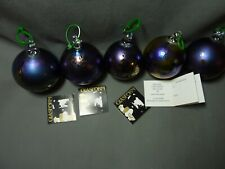 5 John Ditchfield Glasform Iridescent Glass Baubles Christmas Tree Decorations
