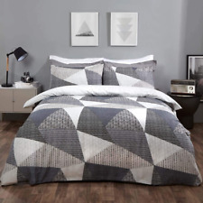 Dreamscene DDHSTGEGY02 Duvet Cover with Textured Pillowcases - Charcoal Black/Grey