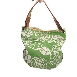 FOSSIL Vintage Canvas Tote Handbag Shoulder Green Floral Hobo Boho Size M-L