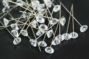 100 Clear Diamante Crystal Diamond Shape Pins 6mm Head with 40mm Length - FL1010