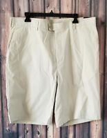Men's Perry Ellis Portfolio Beige Shorts Size 38 Silver Lining 100% Cotton NEW