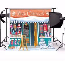 Cartoon Christmas Store Photography Backgrounds 10x10ft Seamless Vinyl Backdrops