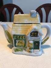 Unique Vintage Style Ceramic Yellow Tea Cottage House Tea Pot