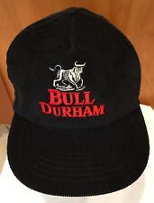 Vintage '91 Trucker Hat CAP Bull Durham Black Corduroy Embroidered Snap Back NIB