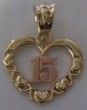14K solid Gold Quinceanera Pendant heart with XOX dije de corazon para 15 anos