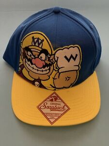 WARIO Authentic Nintendo Patch Snapback Blue & Yellow Cap/Hat New w/Tags