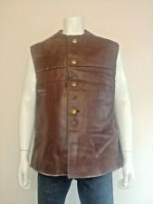 Vintage 1950s Belgian Military Armed Forces Leather Jerkin / Waistcoat