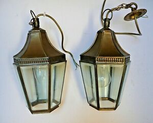 Pair of vintage bevelled glass brass carriage ceiling lights with original glass