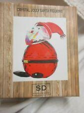 Simon Designs Crystal Jolly Santa Figurine Paperweight New In Box