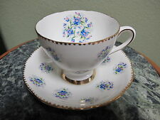 Gladstone Forget Me Not Tea Cup and Saucer Made in England English China
