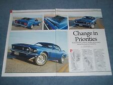 """1969 Ford Mustang Fastback Boss 302 Article """"Change in Priorities"""" Unrestored"""