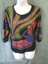 Vintage Kocal Knit Top Size Small Dolman Sleeve Oversized Lasiljou Print T-Shirt