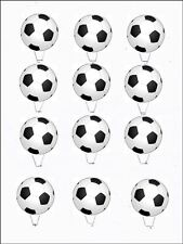 12 x Footballs STAND UPS Edible Rice Paper Cup Cake Decorations Toppers