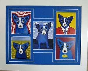 """GEORGE RODRIGUE BLUE DOG NOTE CARD COLLAGE - WHITE FRAME / BLUE MAT - 16"""" x13"""""""
