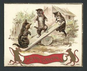 Y51 - ANTHRO CATS SEE-SAW - RAPHAEL TUCK - FOLDING EMBOSSED EDWARDIAN XMAS CARD