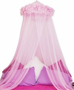 Mombasa Pink Feather Boa Bed Canopy / Netting -  Fits Twin & Full Size Beds