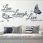 Home Decor Live Laugh Love Butterfly Flower Wall Art Sticker Modern Wall Decals