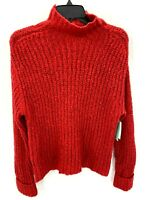 Nordstrom Abound Mock Neck Cozy Knit Pullover Sweater XS Red Tango NEW