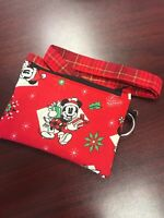 Handmade Christmas Holiday Disney Mickey Mouse Winter Coin Purse And Lanyard