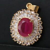 Large Red Oval Ruby Diamond Halo Pendant Charm Wedding Gold Plate Jewelry YR33