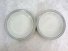 "Bristile / Wembley ware 2 rimmed Soup Bowls (8"") grey band & brown lines pattern"
