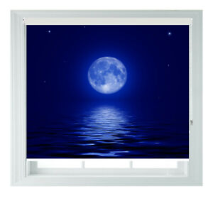 Full Moon Over Sea Blue Printed Photo Black Out Roller Blinds 2 3 4 5 6ft