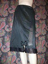 Vintage Black Lacy Bow Nylon Tricot Half Slip Lingerie