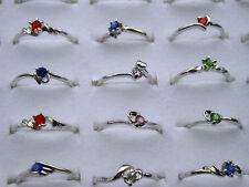 Cz Rhinestone Silver Finger Ring Aa 30Pcs Wholesale Lots Fashion Jewelry Crystal