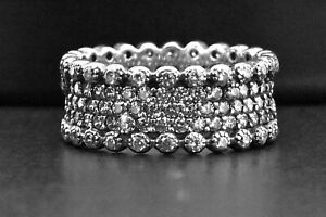 925 Sterling Silver Round Cut Black Antiqued Sim Diamond Wide Eternity Band Ring