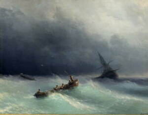 Ivan Aivazovsky Storm at sea Poster Reproduction Paintings Giclee Canvas Print