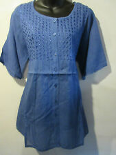 Top 3X Plus Tunic Henley Style Slate Blue Embroidery Cotton Very Nice NWT  VT18