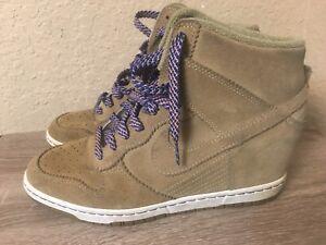 2012 Nike Dunk Sky Hi Desert Suede Wedge Sneakers 528899-201 US Women's 10