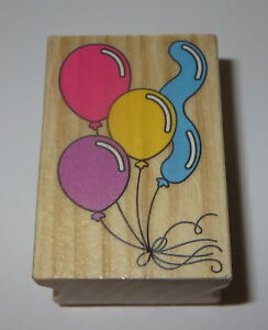 """Balloons Rubber Stamp Birthday Party Celebration Wood Mounted 2"""" High #3"""