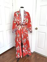 Vintage Satin Red Kimono Japanese Robe Long Belted All Over Print Geisha Floral