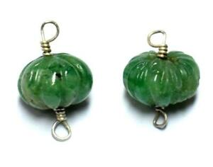 NATURAL EMERALD BEADS CARVED RONDELLE 8.5 - 9 MM SOLID 925 SILVER 2 PCS #A1934