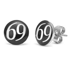 New 925 Sterling Silver Black with White 69 Rude Logo Earring Studs