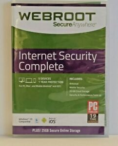 🔥🔥 Webroot Internet Security Complete 5 Devices - 1 Year [SEALED, SHIPS TODAY]