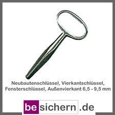 Vierkantschlüssel, Fensterschlüssel, Außenvierkant 6,5 - 9,5 mm, Länge 100 mm