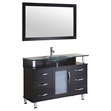 """48"""" Vanity Cabinet with Sink Glass Top and Mirror Espresso by LessCare"""