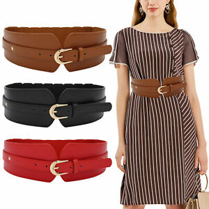 Retro Style Women Ladies Leather Elastic Wide Waistband Dress Coat Belt 3 Colors