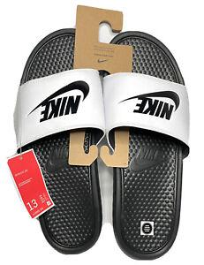 Nike Benassi JDI Slide Mens Size 13 White and Black 343880-100 Slippers Slides