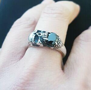Black Onyx Skull Biker Ring, 925 Silver Men and women