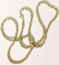 collier bijou rétro vintage torsadé maille couleur or et fil de soie beige *5227