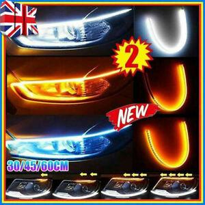 2 x Sequential LED Strip Turn Signal Indicator Car DRL Daytime Running Light UK
